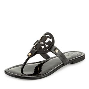 NWT Tory Burch Sz 7 Black Patent Miller Sandals